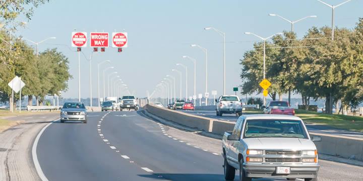 Pensacola Bay Bridge approach in Gulf Breeze