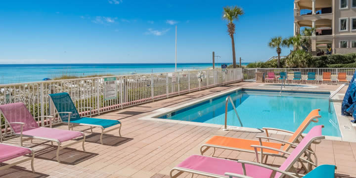 Beachfront pool at The Inn at Crystal Beach Condos
