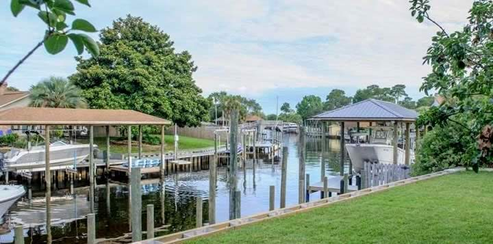View of canal at Blue Heron Cove Subdivision in Gulf Breeze