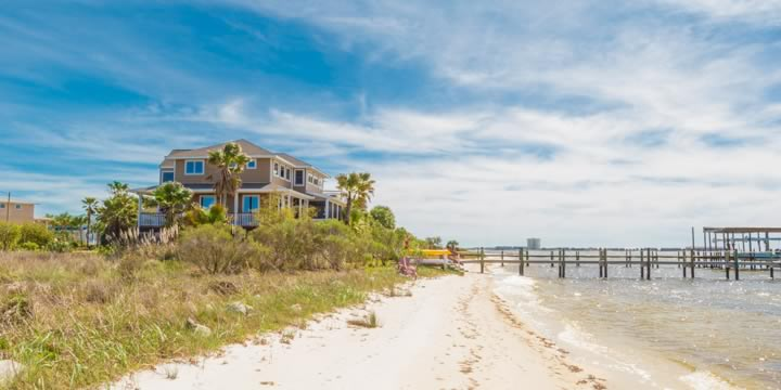 Gulf Breeze waterfront and docks in the Deer Point Subdivision
