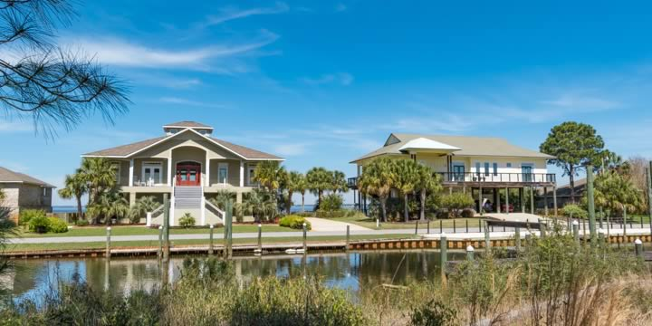 Waterfront homes at Whisper Bay in Gulf Breeze FL