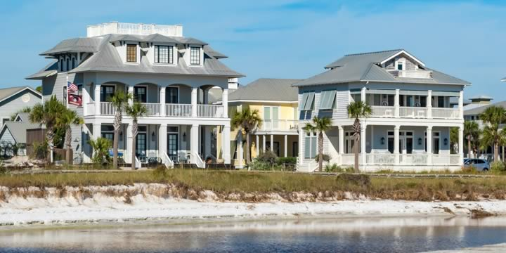 Large homes overlooking the Emerald Coast in Grayton Beach FL