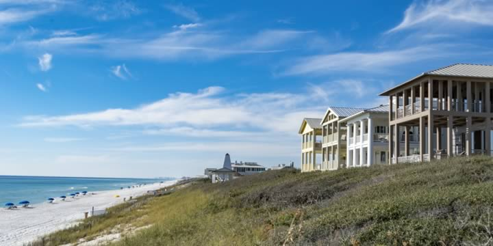 Houses overlooking the beach at Seaside FL