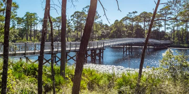 A bridge that connects WaterColor homes to community activities.