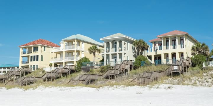 Large gulf front homes at Miramar Beach