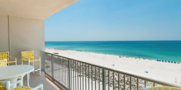 View from condominium of Navarre Beach below.