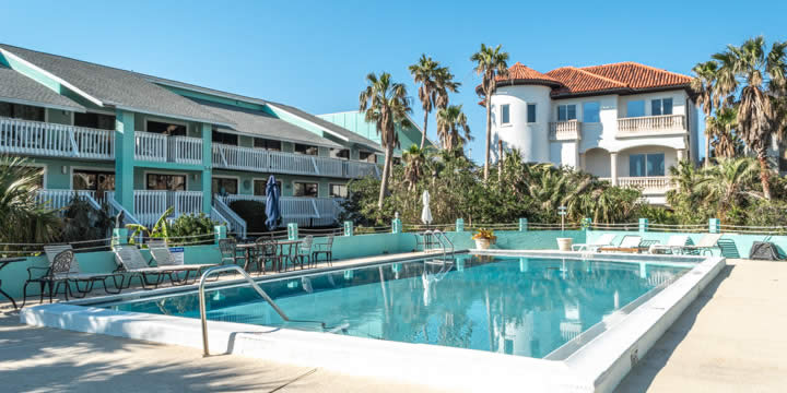 Pool and deck at Deep Water Cove condos