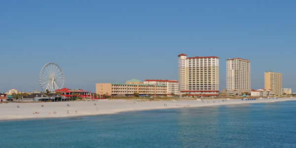 Condos and stores on Pensacola Beach