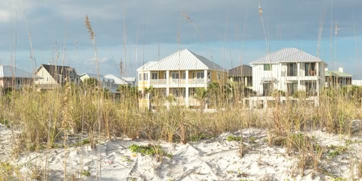 Beach front homes at Pensacola Beach