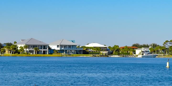 Waterfront homes at Pensacola Beach