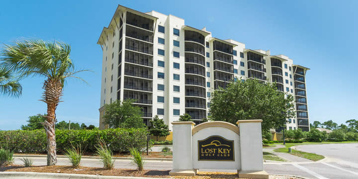 San Anton condominium overlooks the fairways of Lost Key Golf Course