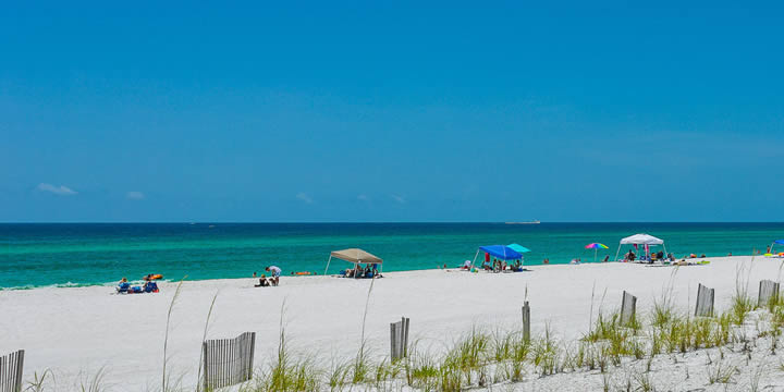 Sand dunes and Gulf Beach at Pensacola Beach FL