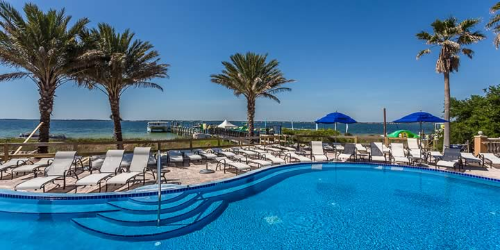 The pool and Santa Rosa from Portofino Resort.